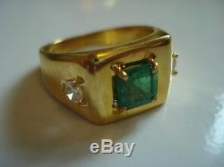 Fancy men's Gift50's Vtg 14k gold VS Colombian emerald diamond ringSz9Free SH