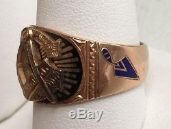 Fine Antique 10k Gold Enamel Masonic Men's Vtg Signet Ring 9.5g size 10.5