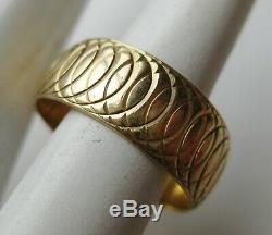 Fine Vintage 14k Yellow Solid Gold Men's Eternity Wedding Band Ring 6g size 9.5