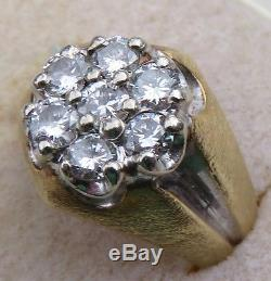 GORGEOUS MENS VINTAGE MID-CENTURY 1.0 CARAT VS2 DIAMOND CLUSTER & 14K GOLD RING