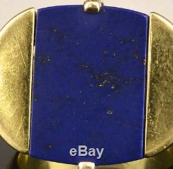 GREAT VINTAGE MODERN DESIGN 18K GOLD BLUE LAPIS LAZULI STONE MENS LADIES RING