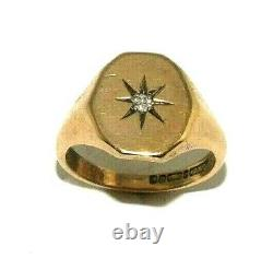 Gents/mens 9ct 9carat yellow gold vintage ring set with a diamond, UK size Q 1/2