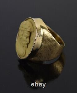 Grand Tour 14k Gold Lava Bas-Relief Cameo Ring Neoclassical Man Laurel Crown