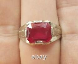 Great Vintage Art Deco Mens 10k White Gold Red Stone Detailed Ring Size 10.5