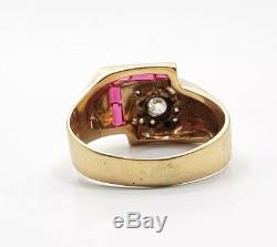 Great Vintage Art Deco Mens 14k Yellow Gold Diamond Ruby Ring Size 10.25