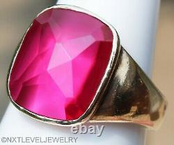 HEAVY 7.6 Gram Vintage 1940's LARGE Cushion Cut Ruby 10k Solid Gold Men's Ring