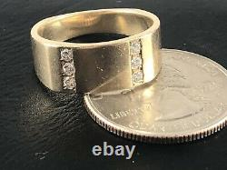 HEAVY VINTAGE 14K SOLID GOLD RING 6x NATURAL DIAMOND MEN'S SZ 8.25 FGH A+