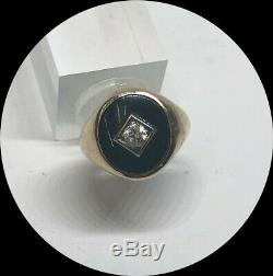 Handsome Men's 14k Yellow Gold Vintage Onyx & Diamond Pinky Ring- Size 5.5