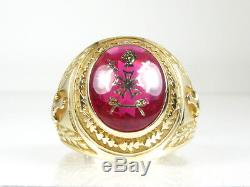 Handsome Vintage 10k Yellow Gold Order of Demolay Mens Gents Ring 11.5g
