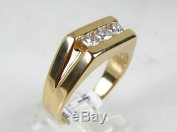 Handsome Vintage 14k Yellow Gold Natural. 75ctw Diamond Mens Ring 10.3g eb5156