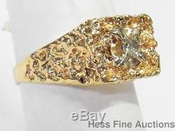 Heavy 14k Gold 0.25ct Diamond Solitaire Mens Vintage Nugget Ring Large Sz 12.5