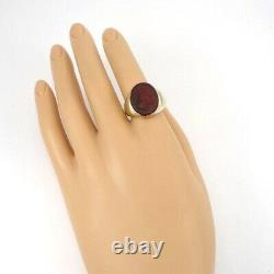 Heavy Vintage Men's Solid 14K Yellow Gold Red Carnelian Intaglio Ring Size 9.5