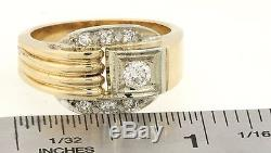 Heavy vintage 14K 2-tone gold. 57CT diamond men's ring with. 33CT ctr. Size 9.75