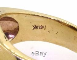 Heavy vintage 14k gold 0.44ct VS2/F diamond and tigers eye mens ring size 9.75