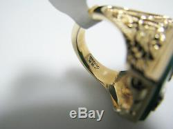 J031 Vintage Men's Jade Stone Initial Z and Diamond Ring in 10k Yellow Gold
