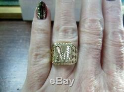L@@K Vntg Solid 14K Yellow Gold Signet RING with Letter Initial M size 8 Men