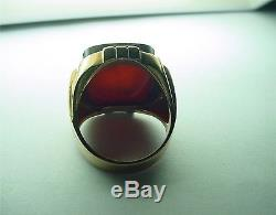 Large Vintage Yellow Gold Man's Ring With Engraved Intaglio On Sard
