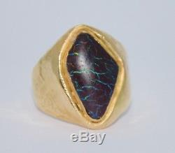 MASSIVE 14K Boulder Opal Ring 25g Yellow Gold Men's Nugget Sz 15 Estate Vintage