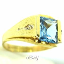 Mens 5 Ct Blue Topaz & Diamond Ring Yellow Gold Estate Vintage Mounting Size 14