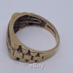 MENS/WOMENS 9ct GOLD VINTAGE RING ROLEX SIZE P 4.7g (2904)