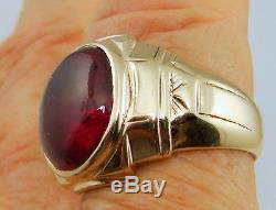 MENS WOMENS RING IN BOX ANTIQUE VINTAGE COLLECTIBLE ESTATE RUBY 10K GOLD 11.2gr