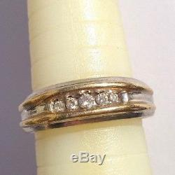 MEN'S VINTAGE. 33ctw DIAMOND HEAVY 10K SOLID GOLD 2TONE BAND RING SIZE 11 6.2g