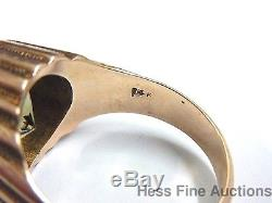Massive 14k Rose Gold Citrine 8.00 tcw approx Vintage Heavy Mens Ring size 11