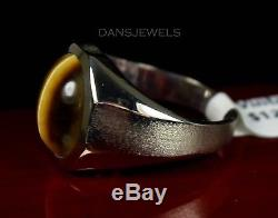Men's 10K White Gold Tigers Eye Cabochon Old Vintage Ring Size 10 EXCELLENT COND