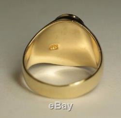 Men's 14K Yellow Gold 10x14mm Oval Opal Estate Gem Ring Sz 9.25 Vtg