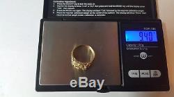 Men's 14k Solid Yellow Gold Nugget Style Band Ring Size 10 1/2 Vintage 9.40grams
