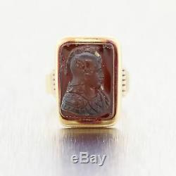 Men's 1870's Antique Victorian 14k Yellow Gold Carved Carnelian Ring