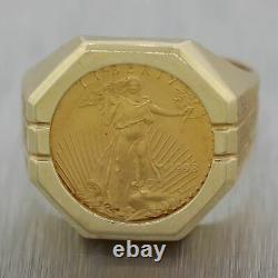 Men's 1998 Vintage Estate 14k Yellow Gold 1/10th oz American Eagle Coin Ring