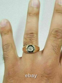 Men's 1CT Round Cut Diamond Solitaire Pinky Ring Vintage 14K Yellow Gold Finish