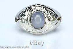 Men's 3.0 ct Star Sapphire Diamond 14K White Gold Ring Sz. 7 Vintage