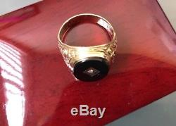 Men's 9ct Gold Vintage Onyx Stone Signet Ring & Diamiond Size R W5.3g Stamped