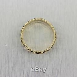 Men's Antique Victorian 14k Yellow Gold Engraved Band Ring