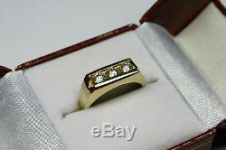 Men's Diamond 3 Stone Ring 1ct tw No Reserve! 14kt Gold Vintage 1990's $ave $$