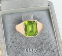 Men's Gents Vintage 18Ct 18K Gold And Peridot Signet Ring