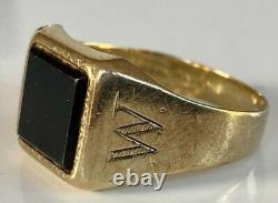 Men's Gents Vintage 9Ct Gold Signet Ring Black Onyx INITIAL W RING SHOULDERS