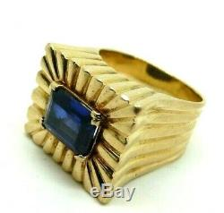 Men's Ring Vintage Years' 30 Yellow Gold Solid 18 Carats Sapphire Synthetic