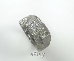 Men's Solid 14k White Gold. 40 Carat Round Brilliant Cut Vintage Diamond Ring