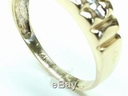 Men's Vintage 0.25ct Diamond Ring 14k Solid Yellow Gold Band Size 11