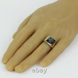 Men's Vintage 10k Yellow Gold and Carved Hematite Intaglio Ring Size 10.5