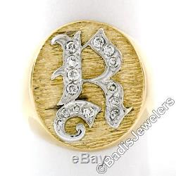 Men's Vintage 14K Gold. 25ctw Round Brilliant Diamond Initial R Signet Ring Sz 8