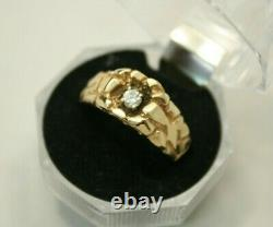 Men's Vintage 14K Gold NUGGET Band with 0.20ct Diamond Ring 6.1g Size 11.5
