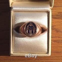 Men's Vintage 14 Kt Yellow Gold Hidden Concealed Swivel Masonic Ring Size 8.75