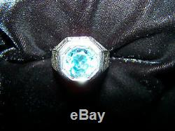 Men's Vintage Aquamarine Ring, 18 K White Gold