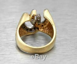 Men's Vintage Estate 14K Yellow Gold Over 0.30Ct Diamond Horse Shoe Lucky Ring