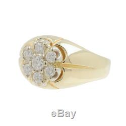 Men's Vintage Estate 14K Yellow Gold Round Diamond Signet Ring Band 0.75CTW
