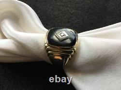 Men's Vintage Solid 10K Yellow Gold Onyx And Diamond Ring
